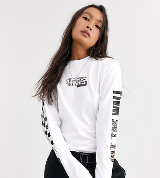 Vans Prey animal print long sleeve t-shirt in white Exclusive at ASOS