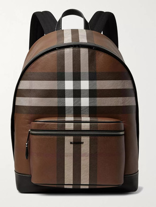 Burberry Leather-Trimmed Checked Coated-Canvas Backpack - Men - Brown