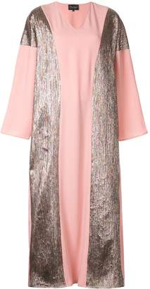 Dima Ayad panelled metallic maxi dress