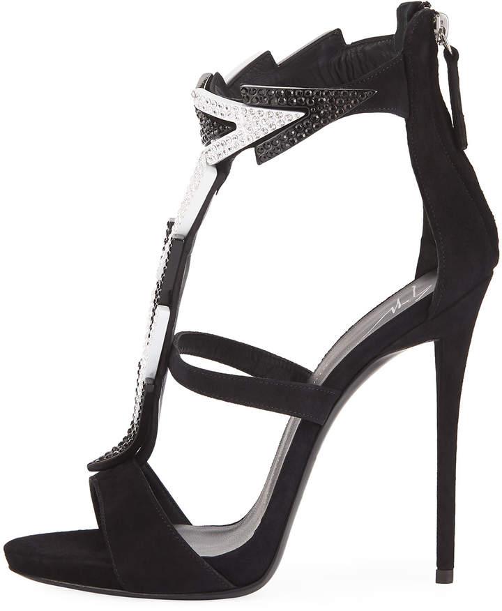 Giuseppe Zanotti High-Heel Embellished Strappy Suede Sandal