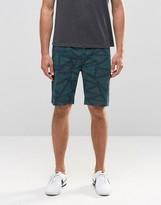 Asos Slim Mid Length Geo-Tribal Shorts In Khaki
