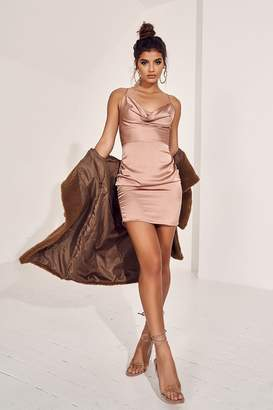 I SAW IT FIRST Taupe Cowl Neck Ruched Satin Mini Dress