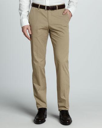 HUGO BOSS Washed Cotton Pants, Khaki