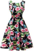 Dasbayla Lady High Waist Hepburn Style Vintage Floral A-Line Sleeveless Cocktail Dress XL