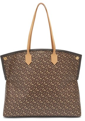Burberry Society Tb-print Coated-canvas Tote Bag - Brown Multi