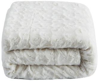 Collection Roses Sherpa Fleece Throw Blanket, White Petal, 90x90