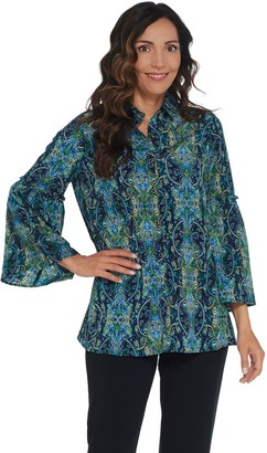 Susan Graver Printed Stretch Woven Bell Sleeve Shirt