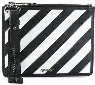 Off-White Off White diagonal stripe zipped pouch black and white