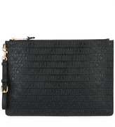 Moschino logo embossed clutch - women - Leather/Polyester - One Size