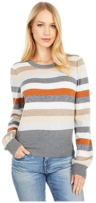 Michael Stars Bell Cropped Crew Neck Pullover Sweater (Hazelnut Combo) Women's Clothing