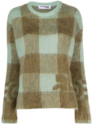 Courreges Long Sleeve Checked Pattern Jumper