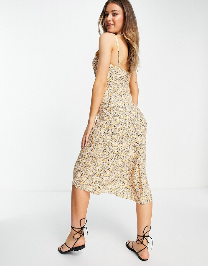 Thumbnail for your product : Abercrombie & Fitch midi slip dress in yellow floral