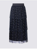 M&S Collection Tiered Mesh Pearl A-Line Midi Skirt