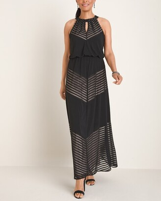 London Times Chevron-Print Halter Maxi Dress