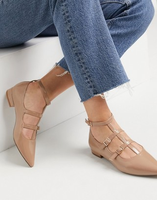 ASOS DESIGN Lyra caged mary jane pointed ballet flats in beige