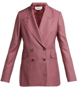 Gabriela Hearst Sophie Checked Double Breasted Wool Blend Blazer - Womens - Pink Multi