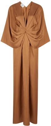 Mark Kenly Domino Tan Darja brown draped silk maxi dress