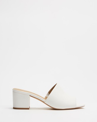 Spurr Women's White Open Toe Heels - Lila Mules - Size 5 at The Iconic