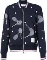 Thom Browne tennis embroidery zipped sweatshirt