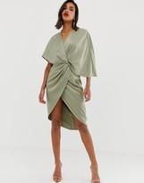 Asos Design DESIGN satin kimono midi dress with knot front and asymmetric sleeve