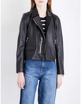 Whistles Agnes zipped cuff leather jacket