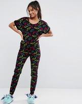 Asos Colorful Dinosaur Print Tee & Legging Pajama Set