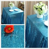 B-COOL 90''90'' Rectangle Aqua Blue Sequin Tablecloth For Christmas Wedding Table Decoration-Factory Directly Selling