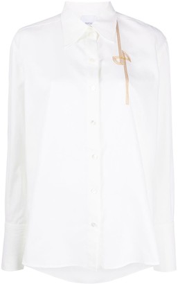 Patou Embroidered Detail Pointed Collar Shirt