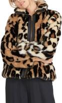 Volcom Faux Yo Info Leopard Faux Fur Jacket