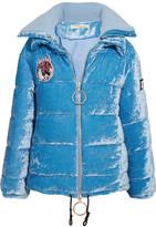 Off-White Embellished Crushed-velvet Jacket - Blue