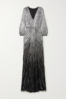 Jenny Packham Jacinta Cold-shoulder Ombre Sequined Tulle Gown - Black
