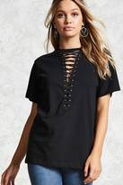 Forever 21 FOREVER 21+ Lace-Up Front Tee