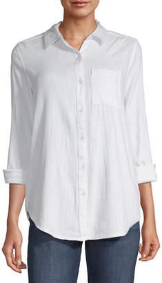 Liz Claiborne Long Sleeve Boyfriend Tunic-Tall