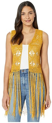 Rock and Roll Cowgirl Vest 49V4456 (Mustard) Women's Clothing