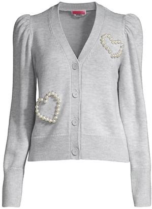 Kate Spade Faux Pearl Heart Knit Cardigan