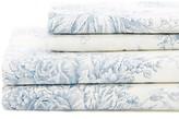 Melange Home Linen Blend Toile Hemstitch Sheet Set - Navy/Natural