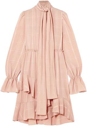 See by Chloe Tie-neck Asymmetric Plisse-crepe Dress
