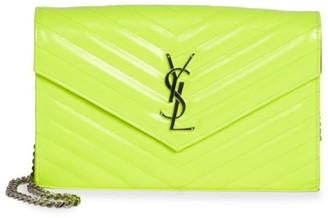 Saint Laurent Monogram Matelasse Neon Leather Wallet-On-Chain