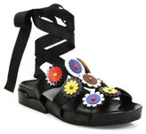 Tory Burch Margurite Flower Leather Tie Slides