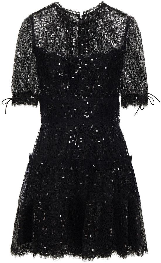 Jonathan Simkhai Tie-detailed Sequined Lace Mini Dress