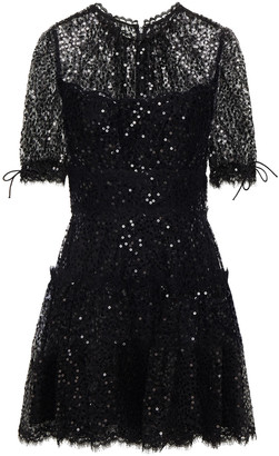 Jonathan Simkhai Tie-detailed Sequined Lace Mini Dress