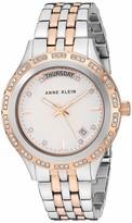 Anne Klein Women's Swarovski Crystal Accented Day/Date Function Silver-Tone Bracelet Watch AK/3475SVSV