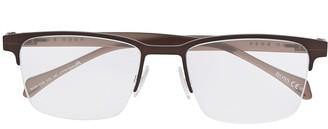 HUGO BOSS Square-Frame Half-Rim Eyeglasses