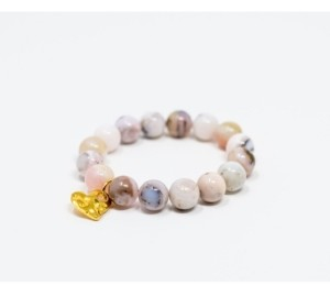 Katie's Cottage Barn Pink Opal Gemstone with Hammered Gold Charm Bracelet