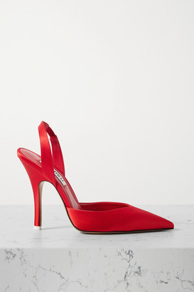 ATTICO Lola Slingback Satin Pumps - Red