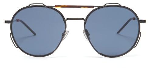 Christian Dior Homme Sunglasses 0234s Aviator Metal Sunglasses - Mens - Black