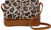 Tula Faux Leopard Leather Small Flapover Cross Body Bag, Tan