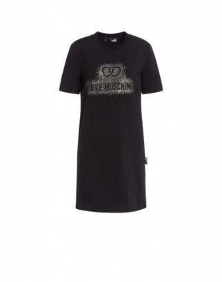 Love Moschino Fleece Dress Crystal Logo Woman Black Size 38 It - (4 Us)