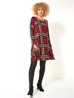 M&Co Roman Originals long sleeve check swing dress