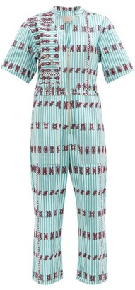 Pippa Embroidered Striped Cotton Jumpsuit - Blue Print